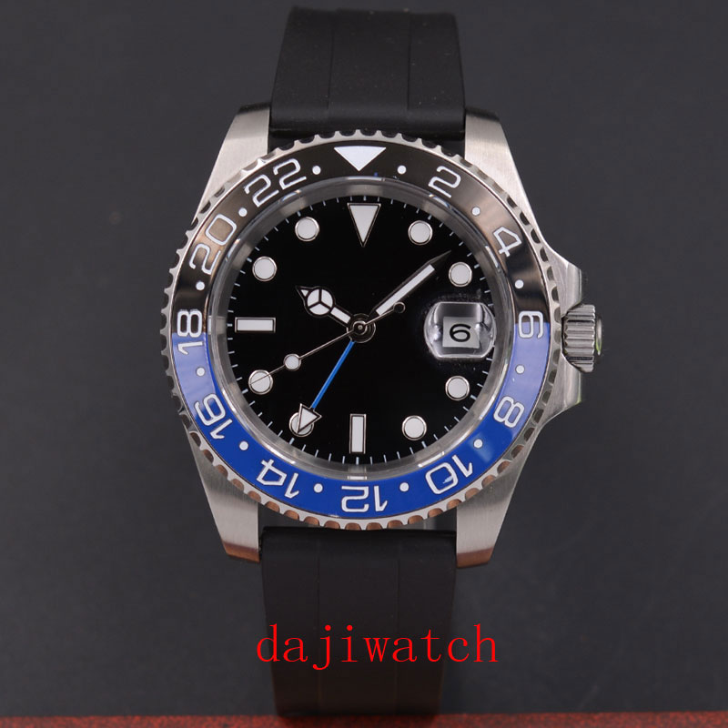 <font><b>40mm</b></font> unmarked black dial luminous sapphire glass; black blue ceramic bezel automatic movement men's <font><b>watch</b></font> image