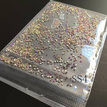 SS4 1440 sztuk paczka kryształ AB Nail Art dżetów płaski tył bez poprawek Glitter paznokci kamienie DIY 3D paznokci telefony materiały dekoracyjne tanie i dobre opinie MIOBLET Rhinestone i dekoracje 1440pcs pack 1 6mm