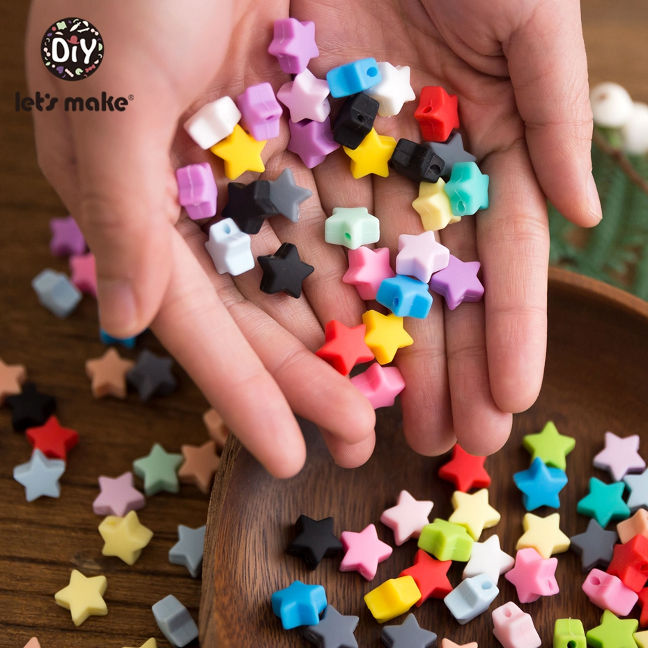 Let'S Make 50pc Silicone Teether Mini Star Teething Bead Diy Feeding Necklace Pacifier Chain Silicone Tiny Rod Teether Toy