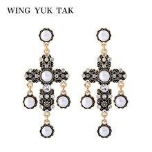 6392cc4ad314 Ala yuk tak Vintage Cruz pendientes para las mujeres moda Boho romántico simulado  perla pendientes colgante joyería del partido