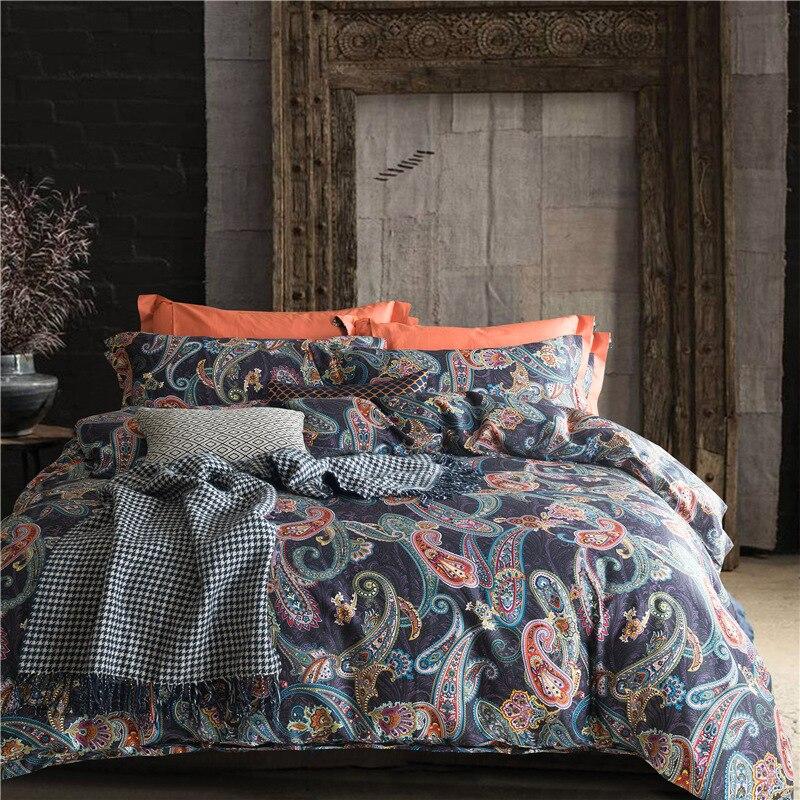 Il 60 S égyptien coton paisley ethnique ensemble de Literie doona/housse de couette drap plat taie d'oreiller roi reine taille linge de lit ensemble