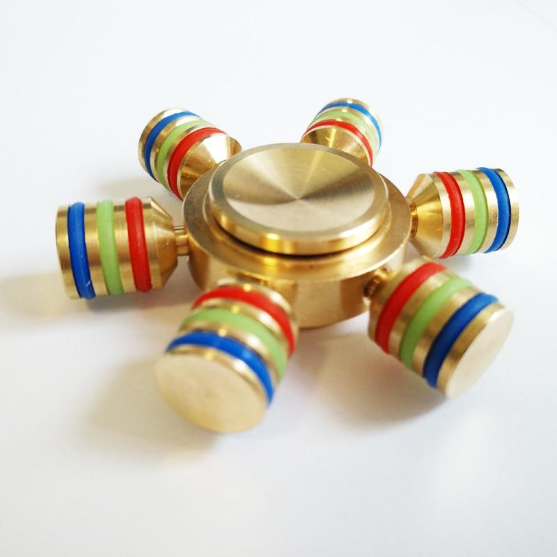 Hexagonal Hand Spinner 100% Brass fidget toy 2017 New Metal fidget spinner edc finger Spinner Hand relieves stress
