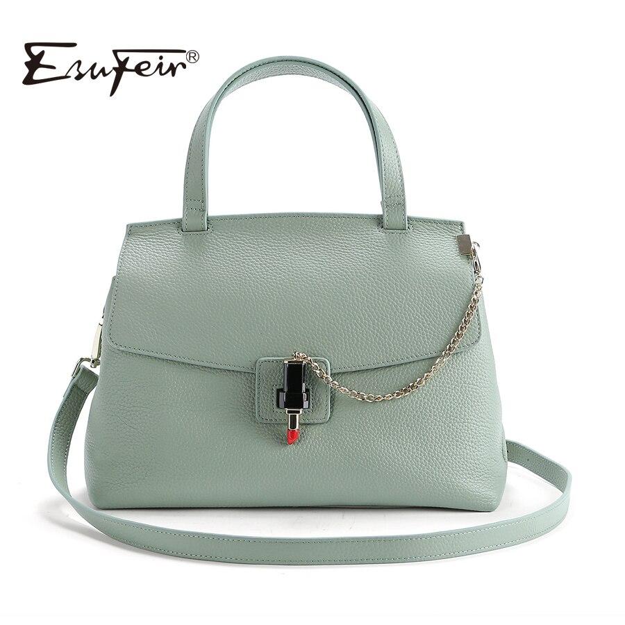 2018 ESUFEIR Brand Genuine Leather Women Bag Fashion Women handbag Classic Lock Chains Shoulder Bag Soft