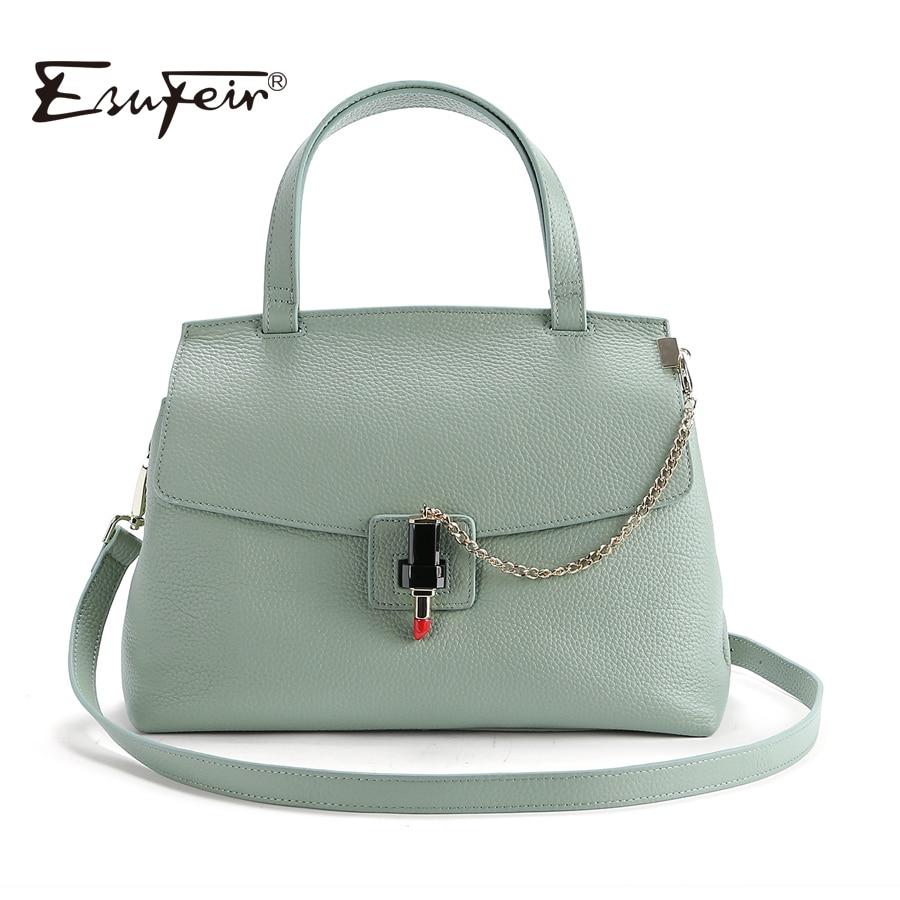 2019 ESUFEIR แบรนด์ของแท้หนังผู้หญิงกระเป๋าถือผู้หญิงแฟชั่นกระเป๋าถือผู้หญิงคลาสสิกล็อคไหล่กระเป๋าหนัง Crossbody กระเป๋า-ใน กระเป๋าสะพายไหล่ จาก สัมภาระและกระเป๋า บน   1