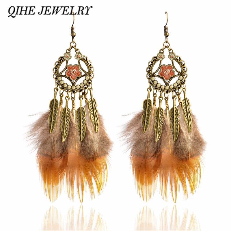 Qihe изделия перо серьги бронзовый цветок очарование коричневый натуральный цвет перо серьги, ювелирные цыганский стиль oorbellen