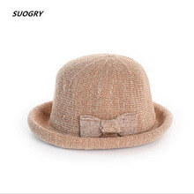 SUOGRY Spring Summer Hat Women Sun Bow Basin Cap Female Elegant Breathable Visor Lady Leisure Femme