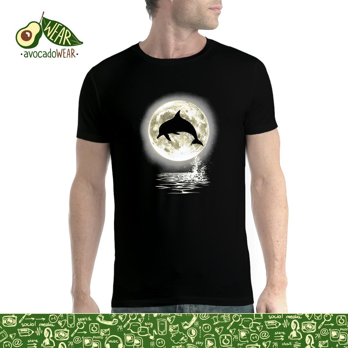 Dolphin Jump Moon Men T shirt S 3XL New T Shirts Funny Tops Tee New Unisex Funny High Quality Casual Printing in T Shirts from Men 39 s Clothing