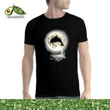 Dolphin Jump Moon Men T-shirt S-3XL New T Shirts Funny Tops Tee Unisex  High Quality Casual Printing