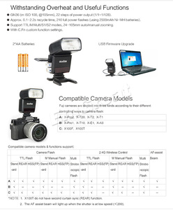 Image 5 - Godox TT350F pour Fujifilm Mini Speedlite caméra Flash/X1T F TTL HSS GN36 haute vitesse 1/8000S 2.4G système sans fil X pour Fuji
