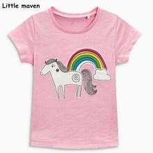 Little maven děti 2018 letní holčička oblečení krátký rukáv růžové duhové tričko Bavlna značka kůň tiskové topy 50972