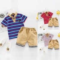 Conjunto de ropa de caballero para bebé, conjunto para niños recién nacidos, camiseta a rayas, pantalones cortos a cuadros, kit de 2 piezas, triangulación de envío, bébé garçon