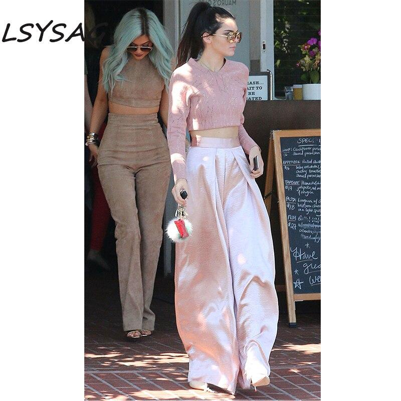 Lsysag Mujeres Pantalon Ancho Pantalones Corp Top Camisa 2018 Pantalones De Color Rosa Alta Cintura Plisada Otono Moda Elegante Slim Ropa 2 Unidades Conjuntos De Mujer Aliexpress