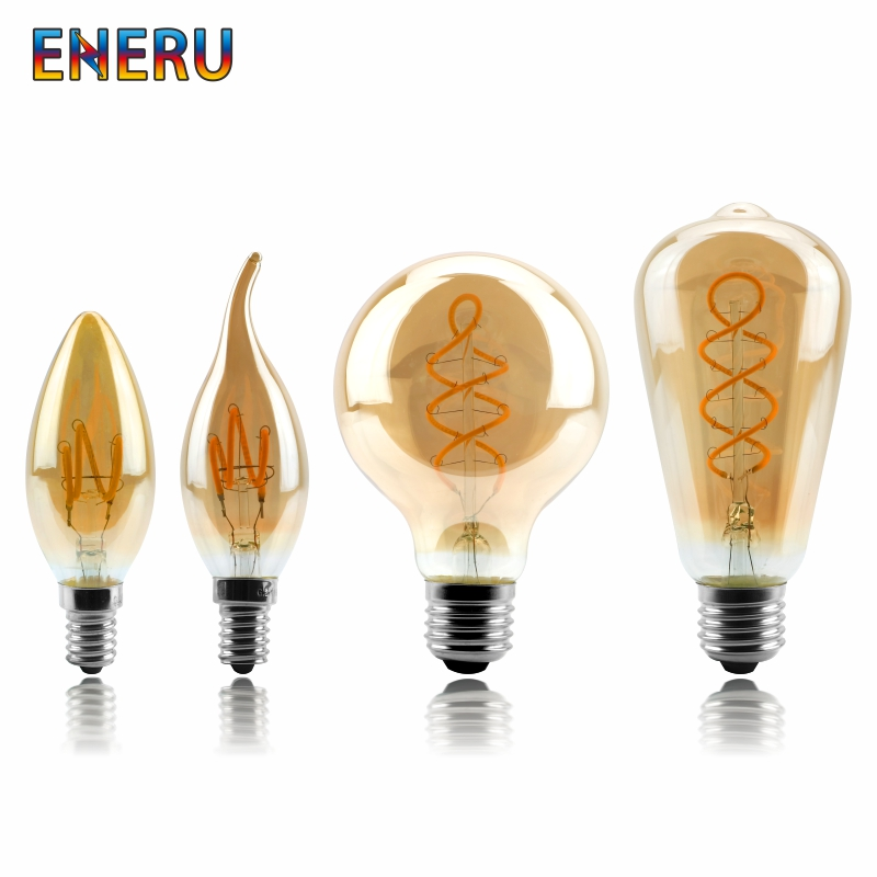 Dimmable Retro <font><b>LED</b></font> Spiral Filament Light Bulb 4W 2200K 220V-240V C35 A60 T45 ST64 T185 T225 G80 G95 G125 Vintage Edison <font><b>LED</b></font> <font><b>Lamp</b></font> image