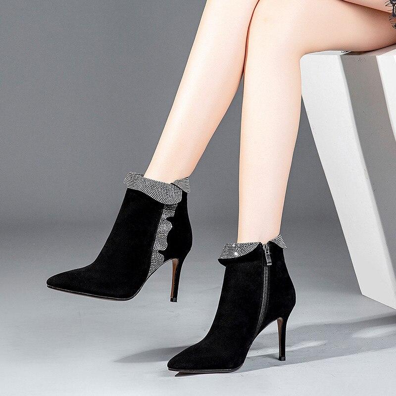 Otoño Zapatos Tacón Mujeres Gamuza Masgulahe De 2019 Zip Moda Tobillo Pie Invierno Las Del Cuero Negro Alto Dedo Puntiagudo Botas ZxE4S