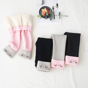 Image 2 - Girls Thicken Fleece Leggings Kids Cartoon Cat Embroidery Pants Childrens Trousers 2 3 4 6 8 Years Baby Girl Velvet Warm Pants