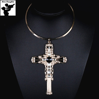 Vintage Big Gold Cross Necklace For Women Rhinestone Punk Large Crystal Corss Pendant Necklace Elegant Luxury