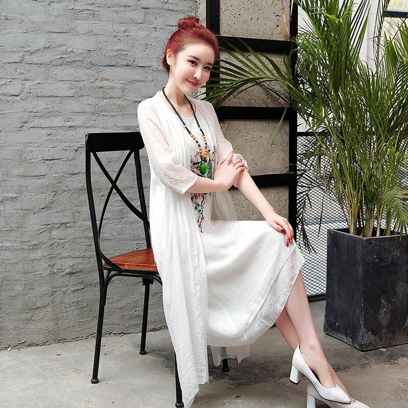 2019 New Arrival Soft Cotton Linen Summer Dress Fashion Embroidery Phoenix Loose Two Piece Set Dress Suits Women Casual Dress 5