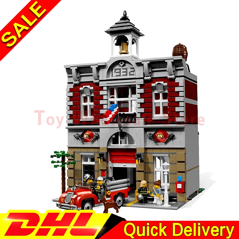 Lepin 15004 2313Pcs City Street Fire Brigade Model Building Kits Set Blocks Bricks lepins toy Clone 10197 lepin 15004 2313pcs city creator series fire brigade model building blocks bricks toys for children gift compatible 10197
