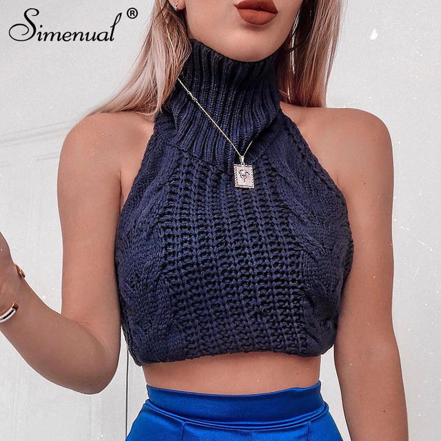 f263ef97c0 Simenual Twist knitted sleeveless crop top female choker sleeveless tank  top 2019 spring summer vest korean streetwear fashion