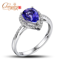 Real 14k Gold Natural 1.60ctw Blue Tanzanite Round Cut Diamond Engagement Jewelry Ring