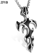 ZFVB Fashion Flame Cross Pendants & Necklaces Women Men 316L Stainless steel Sword Necklace Pendant Jewelry Bijoux Gift