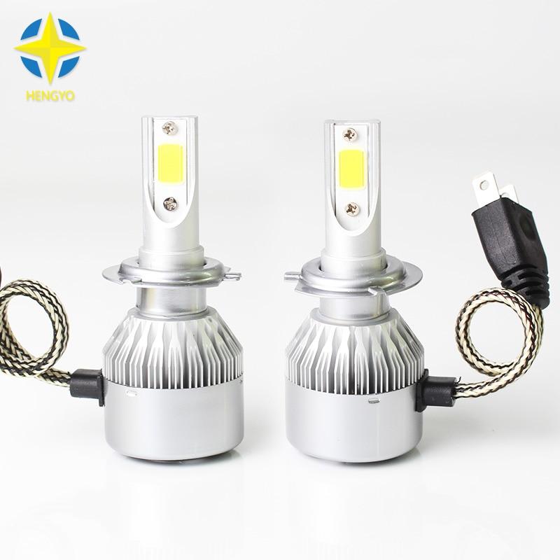 2x H7 COB Chip Led Beam 72W Replacement Daytime Running Lights DRL Fog Headlight Conversion Driving Bulb Car Light Source#C6.
