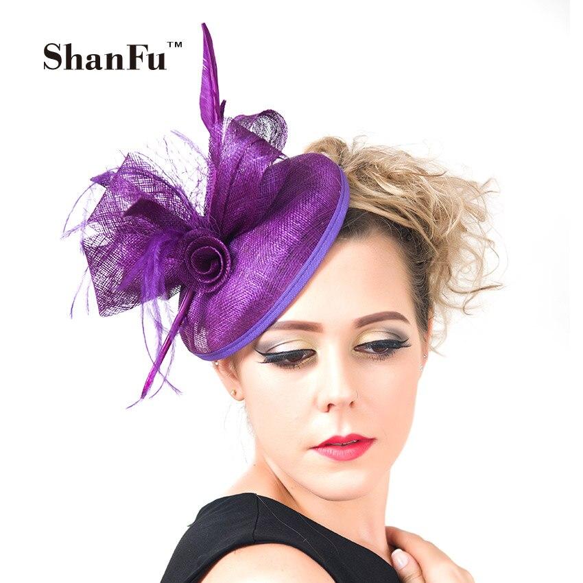 Fashion Women Purple Church Hat Fascinators Sagittate