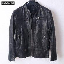 2018 Vintage Black Mens Bomber Motorcycle Jacket Genuine Leather Slim Biker Jacket Sheepskin Korean Plus Size 4XL Leather Coats