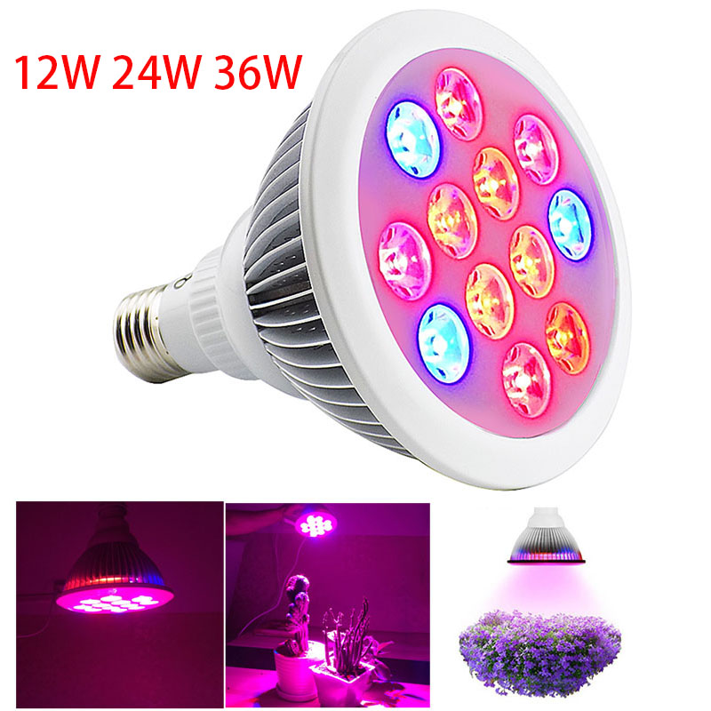 12W 24W 36W Led Plant Grow light lamp E27 SMD growing lights hydroponics indoor green house bulb for flower vegetable lighting