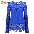 14 Color Plus Size Chiffon Lace Crochet Blouse Women 2017 Long Sleeve Floral Cool Blouse Sexy Silk Crochet  5XL White Tops