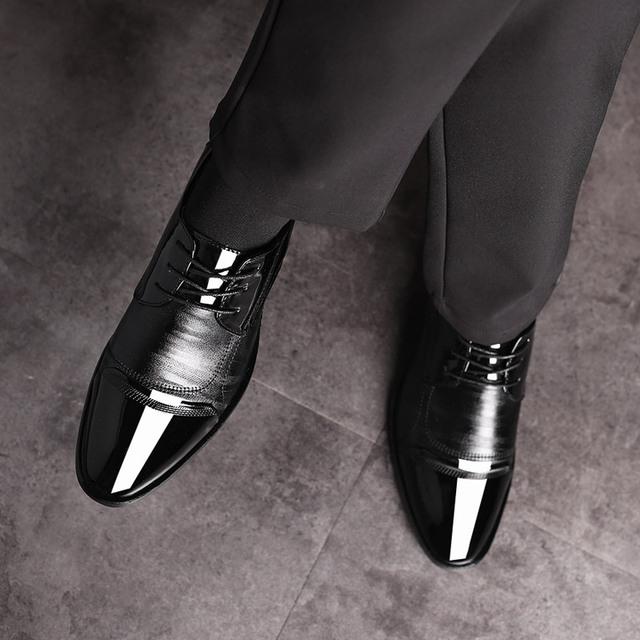 REETENE Men Wedding Shoes Leather Formal Business Pointed Toe Dress Shoes Men Shoes Men'S Oxford Formal Shoes Men Size 38-48