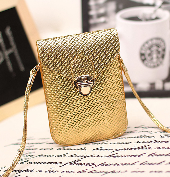 Girls Universal Smart Phone Handbag Pouch Mini Cross-body Shoulder Bags With Shoulder Straps For iPhone 4S 5 5S 6 6S Golden