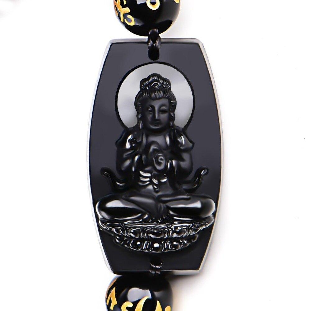10mm Hohe Qualität Natürliche Schwarz Obsidian Geschnitzt Buddha Glück Amulett Runde Perlen Armband Für Frauen Männer Armband Schmuck