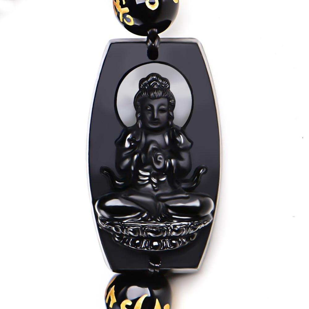 10mm alta calidad Natural negro obsidiana tallada Buddha afortunado amuleto redondo perlas pulsera para Mujeres Hombres pulsera joyería