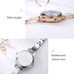 Image 4 - Panie KIMIO bransoletki z zegarkiem dla kobiet moda Red Dial zegarek 2019 Top marka luksusowe kobiet zegarek kwarcowy zegar Relogio Feminino