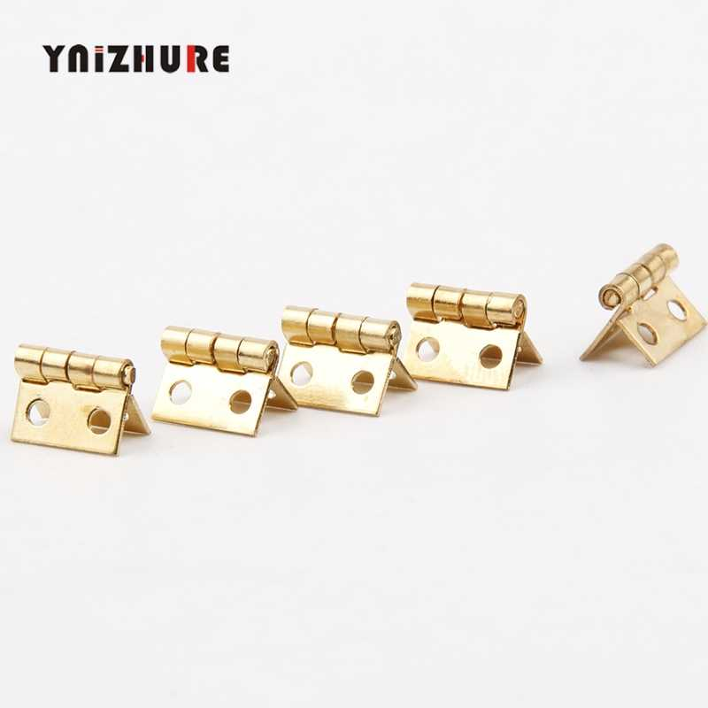 Gold Mini Hinge Decor Door Hinges Wooden Gift Jewelry Box Hinge Fittings for Furniture Hardware+Nail,108mm,10Pcs