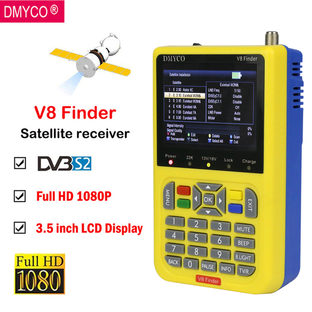 [Genuine] V8 Finder High Definition 1080P Satellite finder DVB-S2 Live FTA Full 1080P MPEG-4 Satellite Meter Signal satfinder