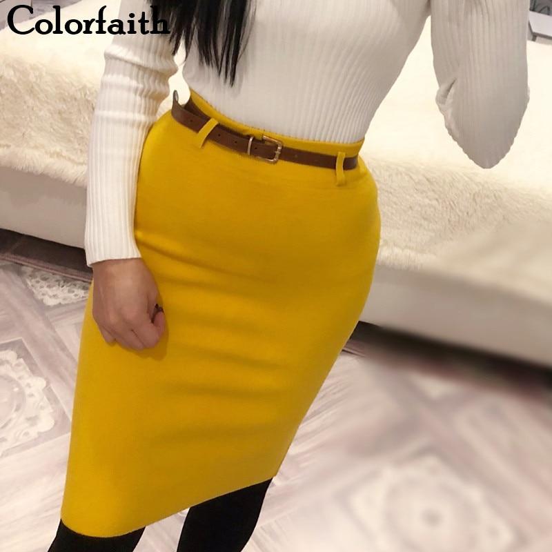 Colorfaith New 2018 Women Solid Multi Colors Knitting Package Hip Pencil Midi Skirt Autumn Winter Belt Bodycon Femininas SK6008