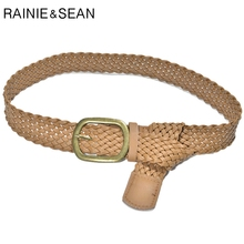 RAINIE SEAN Knitted Leather Belts For Women Brown Wide Belt Female Casual Pin Buckle Faux Strap Ladies Waistband