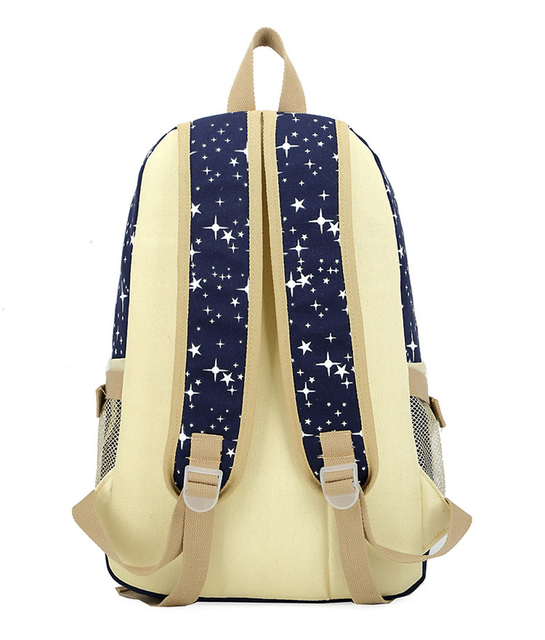 3pcs/set  Backpack School Bags Star Printing Cute Backpacks With Bear For Teenagers Girls