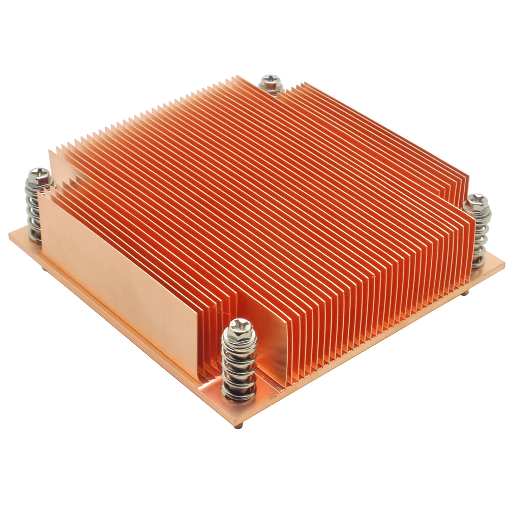 1U Server CPU Cooler Copper Heatsink Radiator For <font><b>Intel</b></font> Core Xeon LGA 1155 1156 1150 1151 Industrial Computer Passive Cooling image
