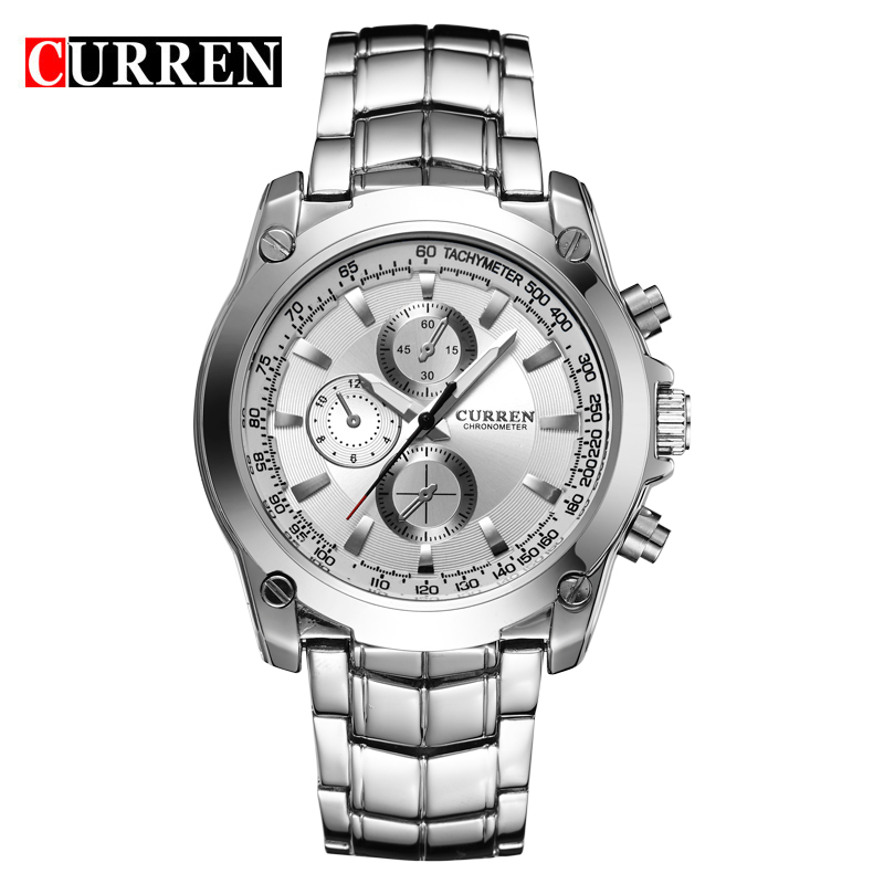 2016 CURREN Luxury Brand font b Men b font Full Steel Business Wristwatches Man Casual Waterproof