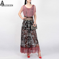 Novelty Long Dresses 2017 Baroque Fashion Luxury Slim Vintage Floral Embroidery Tassel Sleeveless Beach Sexy Dress for Women
