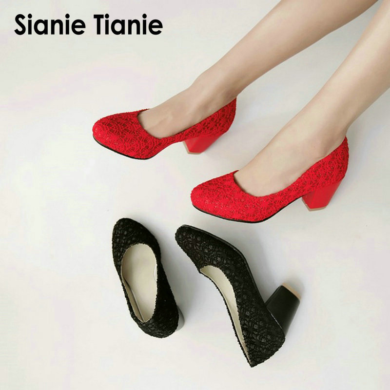 Sianie Tianie plus size round toe block heels woman shoes red lace pumps prom party wedding bridal shoes high heeled women shoes women s fashion gold lace dinner evening party pumps shoes plus sizes low high heels custom made bridal wedding shoes