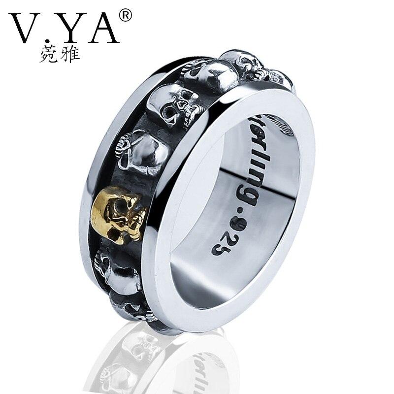 V.YA Brand Sterling SilverJewelry Vintage 925 Sterling Silver Skull Rings for Men Women Rotatable 3D Skull Head Ring Punk Style