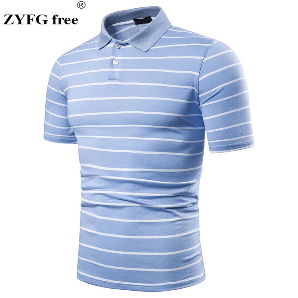 Cotton polyester blend men's   polo   shirt striped short-sleeved turn-down collar   polo   shirt youth fashion male tops