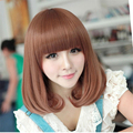 1pcs Brown Heat Resistant Synthetic Short Wavy Hair High Temperature Soft Cosplay with Neat Bangs for Women Ladies Wigs