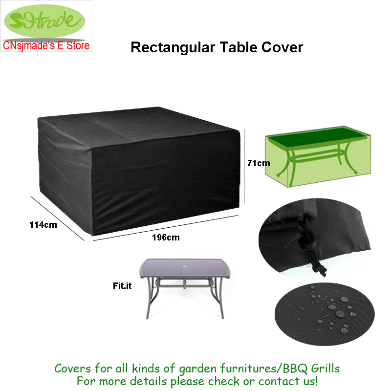 Quality Rectangular Table cover Outdoor furniture cover 196 x114 x 71cm Black color Durable Oxford fabric