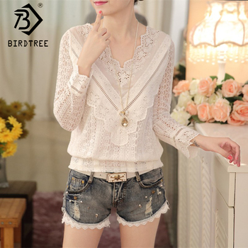 V-neck Top Lace Sweet Blouses Female Clothings