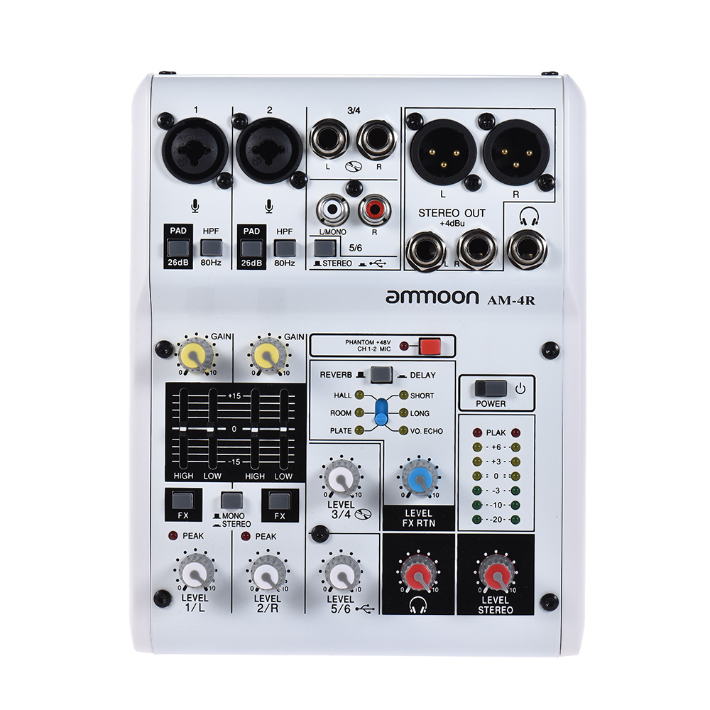 ammoon AM 4R 6 Channel Digital Audio Mixer Mixing Console 48V Phantom Power for Recording DJ